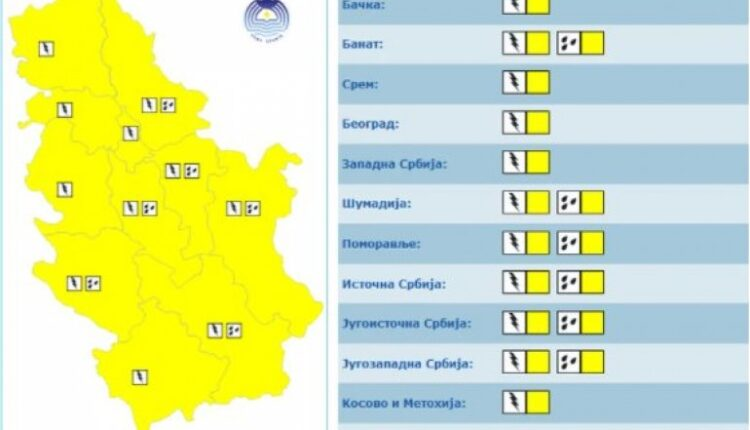 RHMZ ON THE YELLOW METEO ALARM! Showers and thunderstorms are