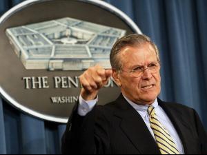 Donald Rumsfeld, the architect of the invasion of Iraq, has